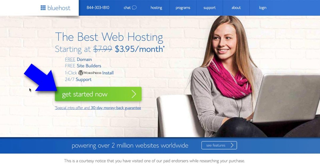 Bluehost Signup Page - How To Start A Blog Business And Get Paid