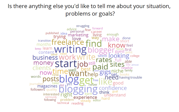 Be a Freelance Blogger - survey results word cloud