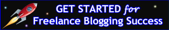 A rocket launches into space alongside the words Get Started for Freelance Blogging Success