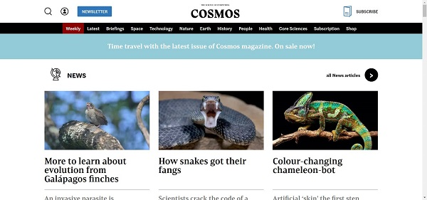 Cosmos magazine hires writers for freelance science writing gigs