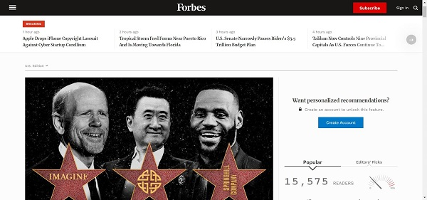 Forbes magazine hires writers for freelance tech writing gigs