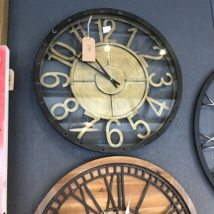 Large Metal Clock with Brass Numbers