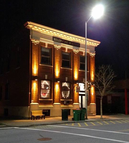 Telephone Building facade at night