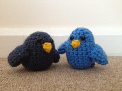 Crochet bird cake toppers