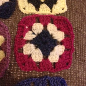 Pink, white and blue granny square