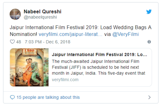 Load Wedding, Load Wedding Nominated for Best Feature at Jaipur International Film Festival