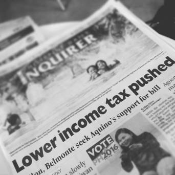 Keep pushing: Lower Income tax pushed (Inquirer.net headline on October 21)