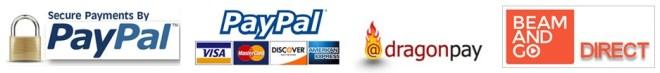 PayPal, Credit Cards, dragonpay, BeamAndGo Direct