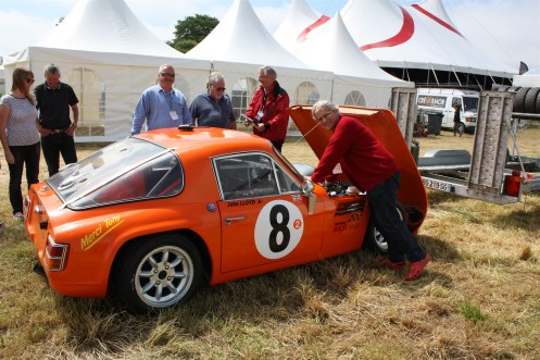 John Lloyd, who is the main driving force behind the Saint Goueno Masters, with his TVR.