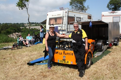 Tom and Marguerite are organic farmers from Australia who have taken six months off to tour Europe in a motor home with a Westfield race car in tow.