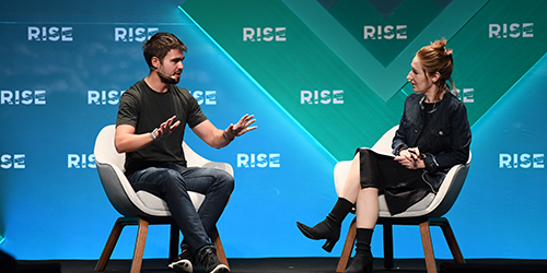11 July 2019; Calvin French-Owen, Co-founder & CTO, Segment, and Louise Lucas, Asia tech correspondent, Financial Times, on SaaS Monster Stage during day three of RISE 2019 at the Hong Kong Convention and Exhibition Centre in Hong Kong. Photo by Stephen McCarthy/RISE via Sportsfile