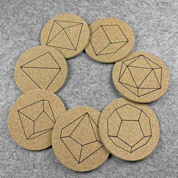 Set of 7 Dice coasters laid out in a ring