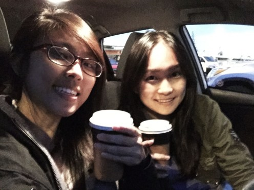 Ready to set off. Moccha and Chai Latte