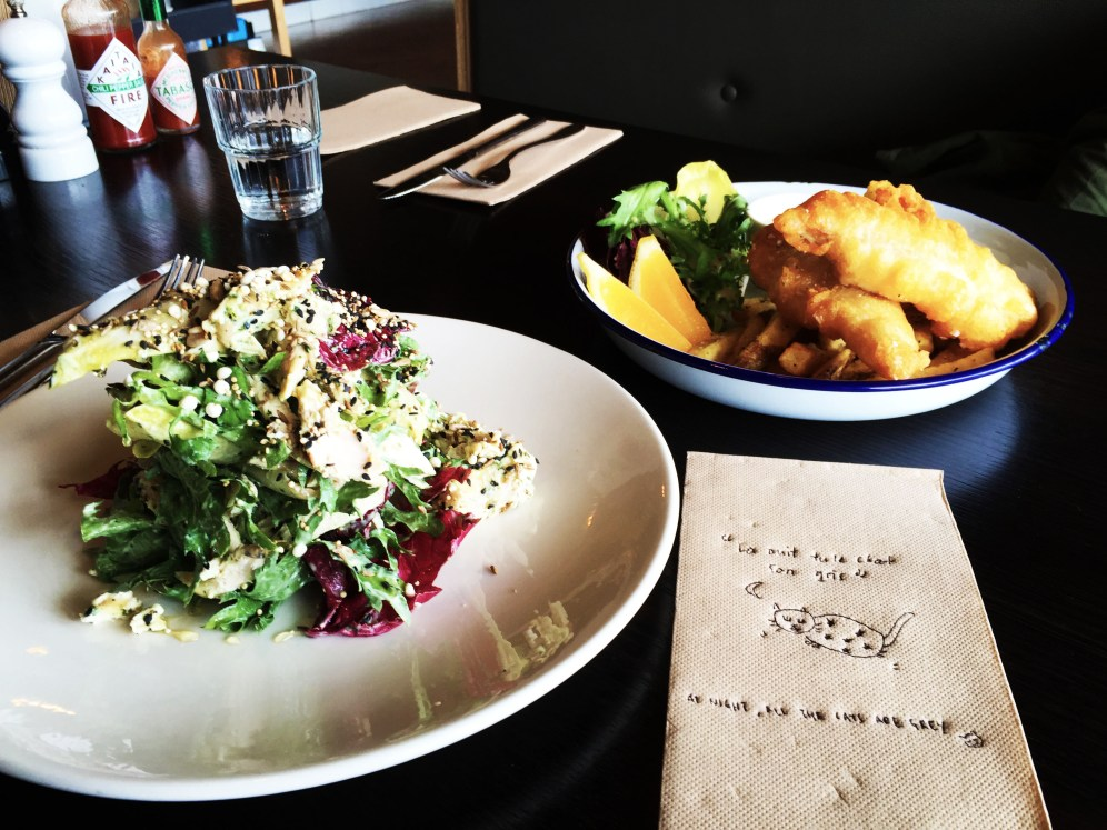 Our brunch and artsy napkin (Onehunga Cafe)