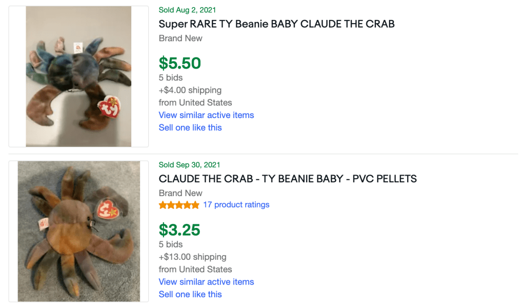 How much is Claude beanie baby worth?