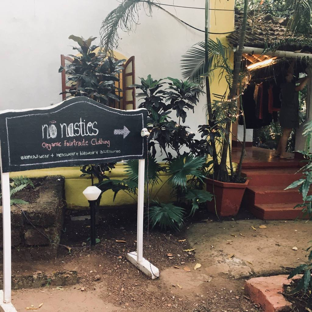 Vegan products: Ethical Clothing brands at Bean Me Up, Vegan Restaurant in Goa.