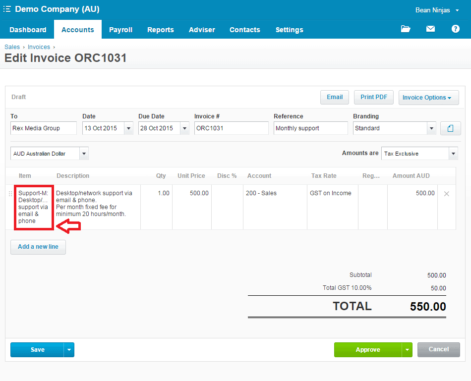 Items on Xero invoices (click for larger image)