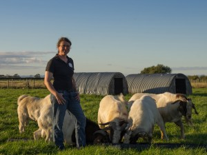 Sharon Peacock with her goats, Cockerham