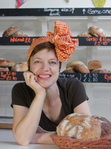 Fil Duirwyn at the counter of her bakery shop