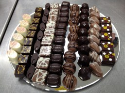 The finished tray of filled chocolates