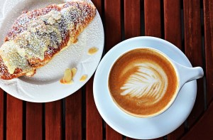 Coffee and almond croissant