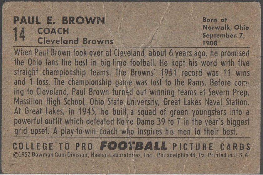 1952 Bowman Small #14 Paul Brown (B)