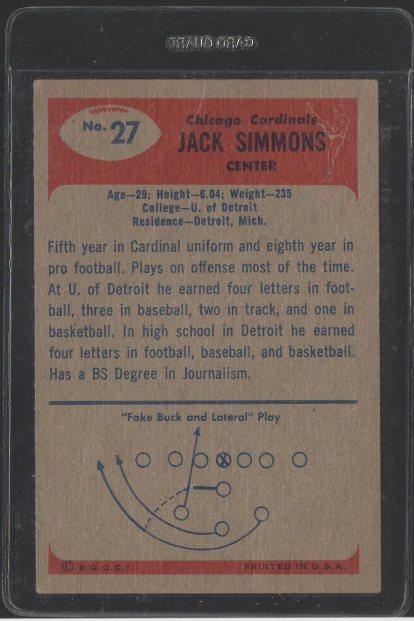 1955 Bowman #27 Jack Simmons (Back)
