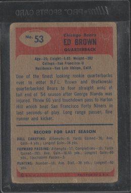1955 Bowman #53 Ed Brown (Back)