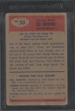 1955 Bowman #53 Ed Brown (Back)