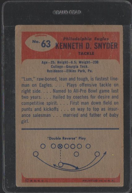 1955 Bowman #63 Kenneth Snyder (Back)