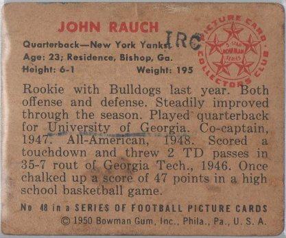 1950 Bowman #48 John Rauch (back)
