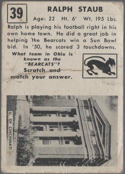1951 Topps Magic #39 Ralph Staub (back)