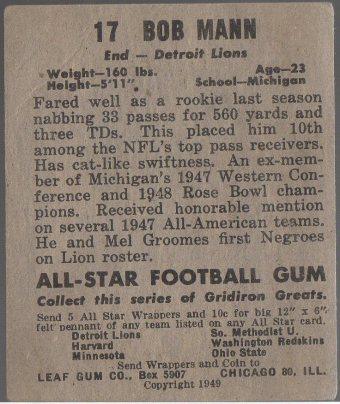 1949 Leaf #17 Bob Mann (back)