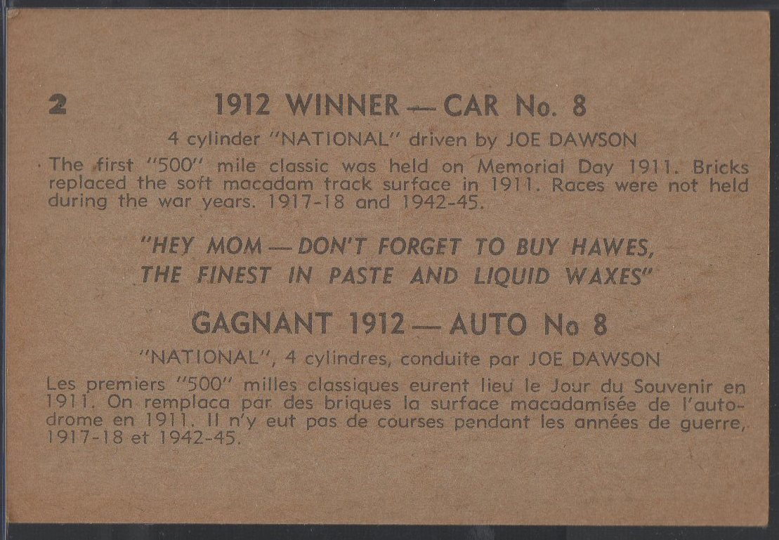 1960 Hawes Wax Indy #2 Joe Dawson (back)