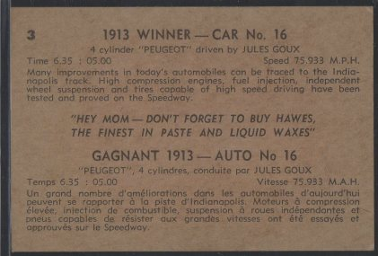 1960 Hawes Wax Indy #3 Jules Goux (back)