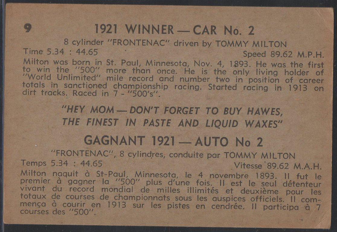 1960 Hawes Wax Indy #9 Tommy Milton (back)