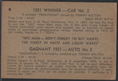1960 Hawes Wax Indy #9 Tommy Milton (back)