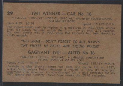 1960 Hawes Wax Indy #29 Mauri Rose/Floyd Davis (back)
