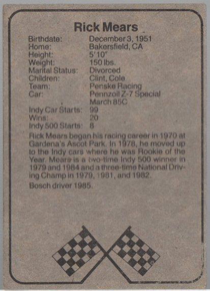 1986 BOSCH INDY #5 RICK MEARS (back)
