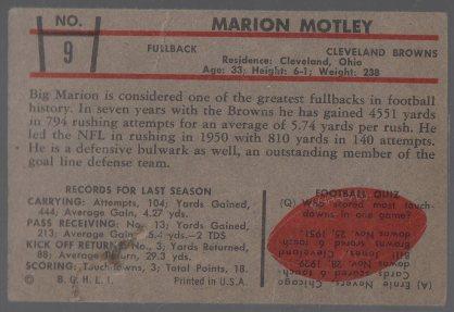 1953 Bowman #9 Marion Motley (back)