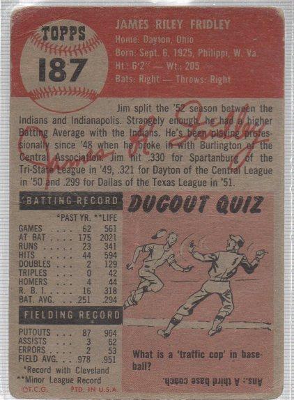 1953 Topps #187 Jim Fridley (back)