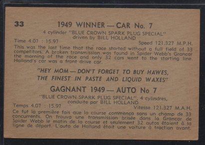 1960 Parkhurst Hawes Wax Indy #33 Bill Holland (back)