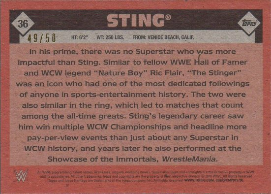 2016 Topps WWE Heritage - Silver #36 Sting S#49/50 (back)