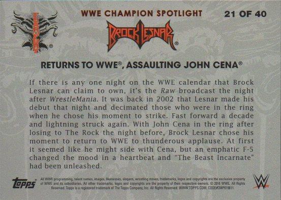 2016 Topps WWE Heritage - Brock Lesnar Tribute #21 Brock Lesnar (back)