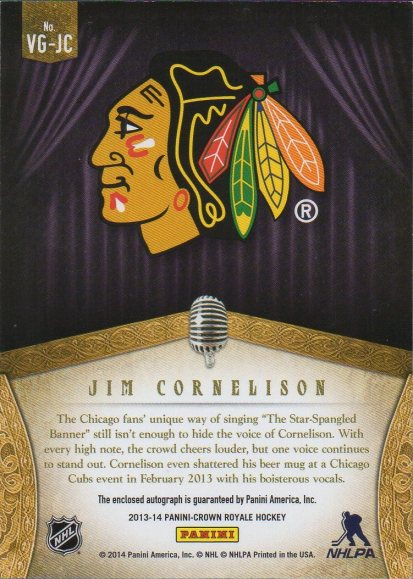 2013-14 Crown Royale Voices of the Game Autographs #13 Jim Cornelison (back)
