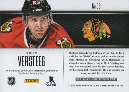 2013-14 Rookie Anthology Luxury Suite #88 Kris Versteeg /99 (back)