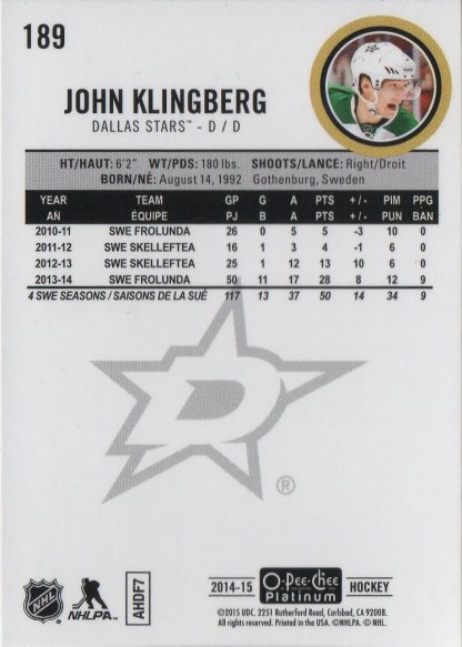 2014-15 O-Pee-Chee Platinum #189 John Klingberg (back)
