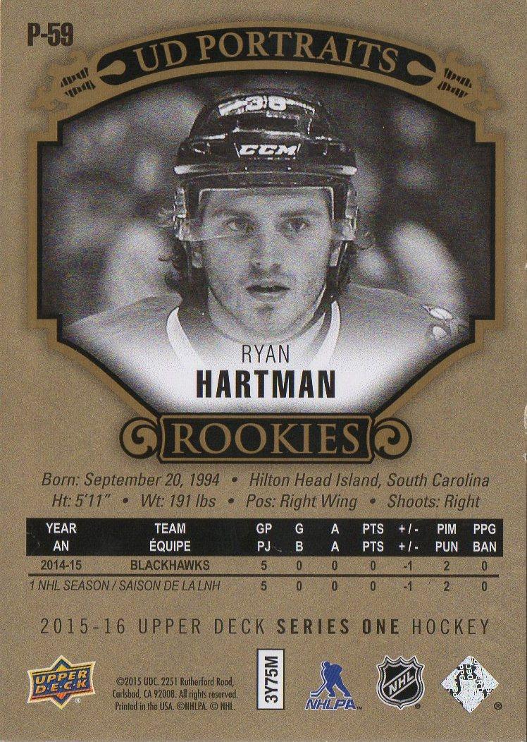 2015-16 Upper Deck Portraits Gold #P59 Ryan Hartman /99 (back)