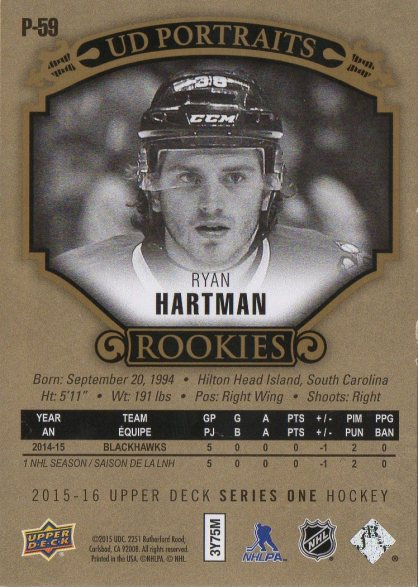 2015-16 Upper Deck Portraits Gold #P59 Ryan Hartman /99 (back)