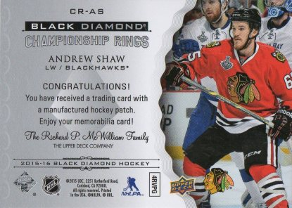 2015-16 Black Diamond Championship Rings #CRAS Andrew Shaw (back)